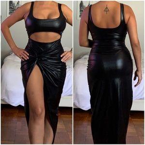 Hot Miami Styles Pleather Black Dress